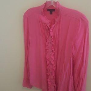 jcrew pink ruffled silk blouse